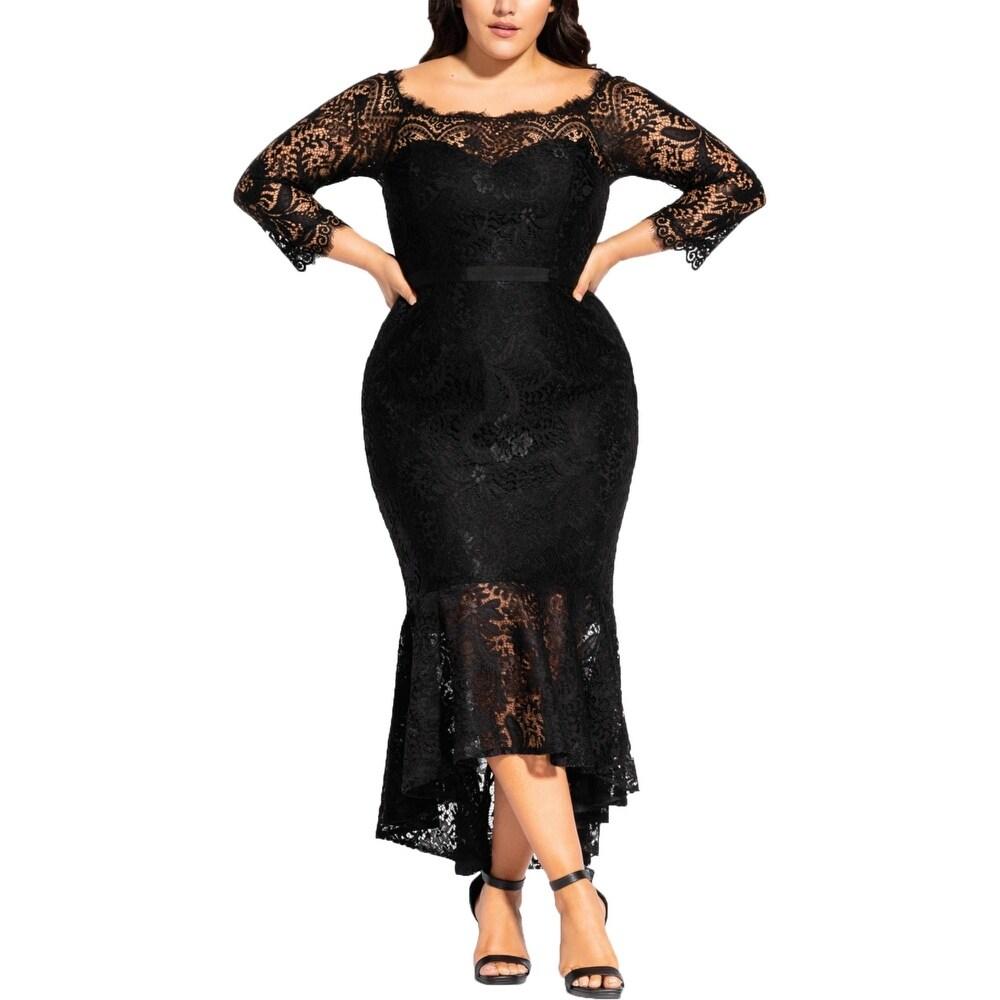 City Chic Womens Plus Estella Evening Dress Lace Off-The-Shoulder by  Wonderful