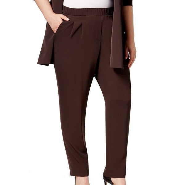1bd1c526e Shop Calvin Klein NEW Brown Women's Size 22W Plus Pleated Dress Pants -  Free Shipping On Orders Over $45 - Overstock - 17659328