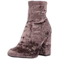 Steve Madden Womens Gaze Velvet Round Toe Ankle Fashion Boots