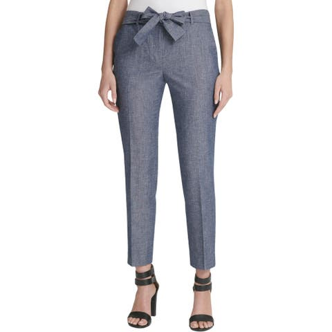 DKNY Womens Petites Ankle Pants Linen Blend High Rise - Chambray Blue
