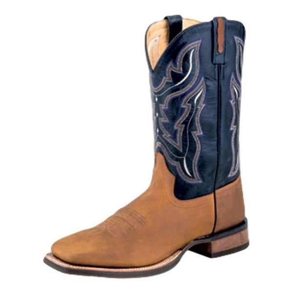 Old West Cowboy Boot Men Natural Welt Pull Tabs Light Distress
