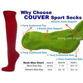 Dark Red Couver Knee High Unisex Sports Athletic Baseball Softball Socks(3 Pairs)