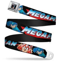 Megaman Logo Megaman & Rush Action Pose Full Color Black Megaman Logo Seatbelt Belt