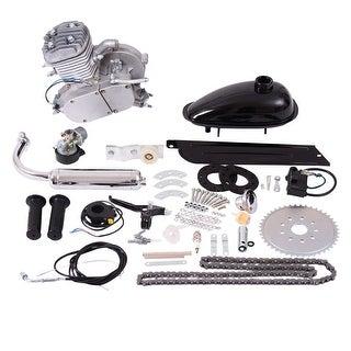 Costway 80cc 2-Stroke Bicycle Gasoline Engine Motor Kit DIY Motorized Bike Silver
