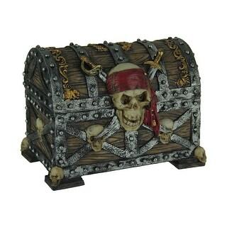 Skull and Swords Pirate Treasure Chest Trinket Box - 5.5 X 7.25 X 4.75 inches