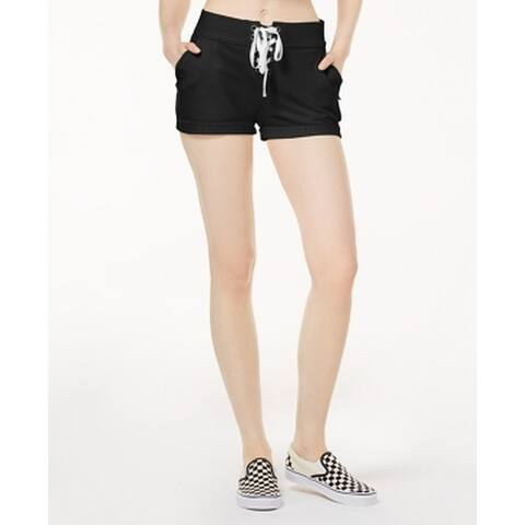 Material Girl Black Size Medium M Junior Lace-Up Terry Casual Shorts 421
