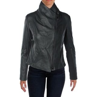Vince Womens Motorcycle Jacket Scuba Leather