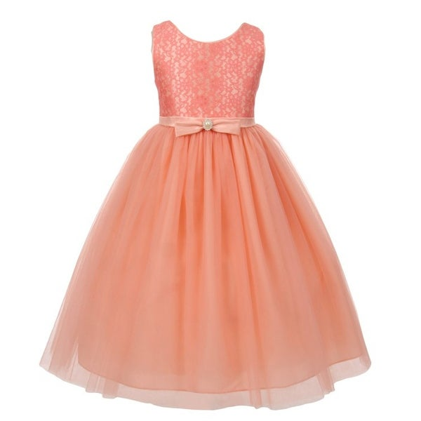 b3ccb78ec984e Little Girls Peach Lace Bodice Bow Attached Tulle Flower Girl Dress 2-6
