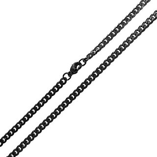 Bling Jewelry 4mm Unisex Stainless Steel Curb Black Cuban Chain Necklace