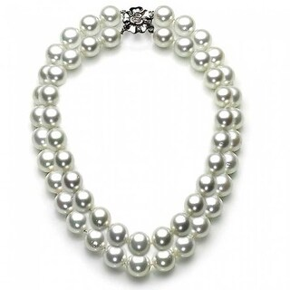 Bling Jewelry White Imitation Shell Pearl Double Strand Sterling Silver Bridal Necklace
