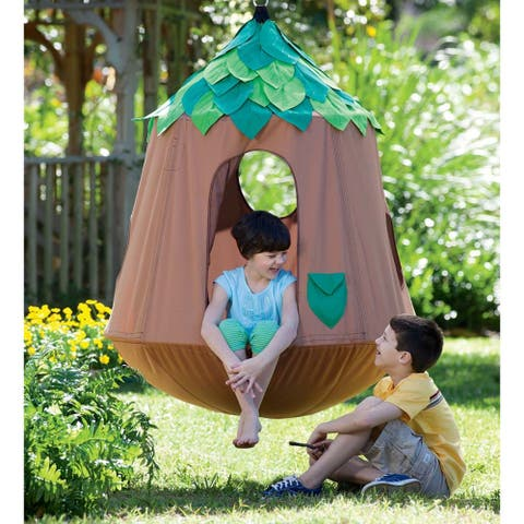 HearthSong Woodland HugglePod Hangout Hanging Chair with LED Leaf Lights - One Size