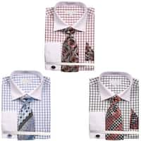 Men's Square Pattern White Collar and Cuffs Dress Shirt with Tie Handkerchief and Cufflinks