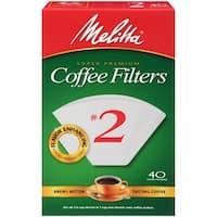 Melitta #2 Cone Coffee Filters, White,  40 Count
