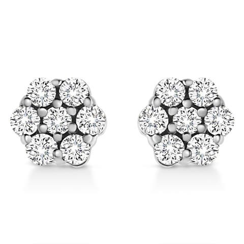 .925 Sterling Silver Lab Grown Brilliant Round Cut Diamond Floral Cluster Stud Earrings (G-H, VS2-SI1) Choice of Ct Weight