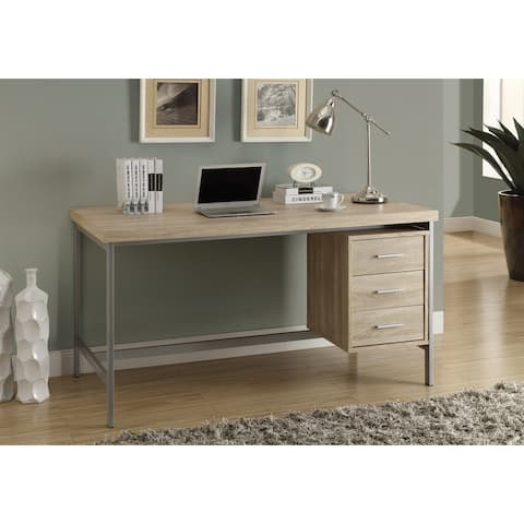 Monarch 7245 Natural With Silver Metal 60nch Computer Desk