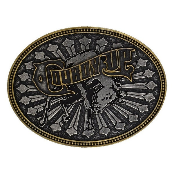 Montana Silversmiths Western Belt Buckle Mens Cowboy Up Silver - One size