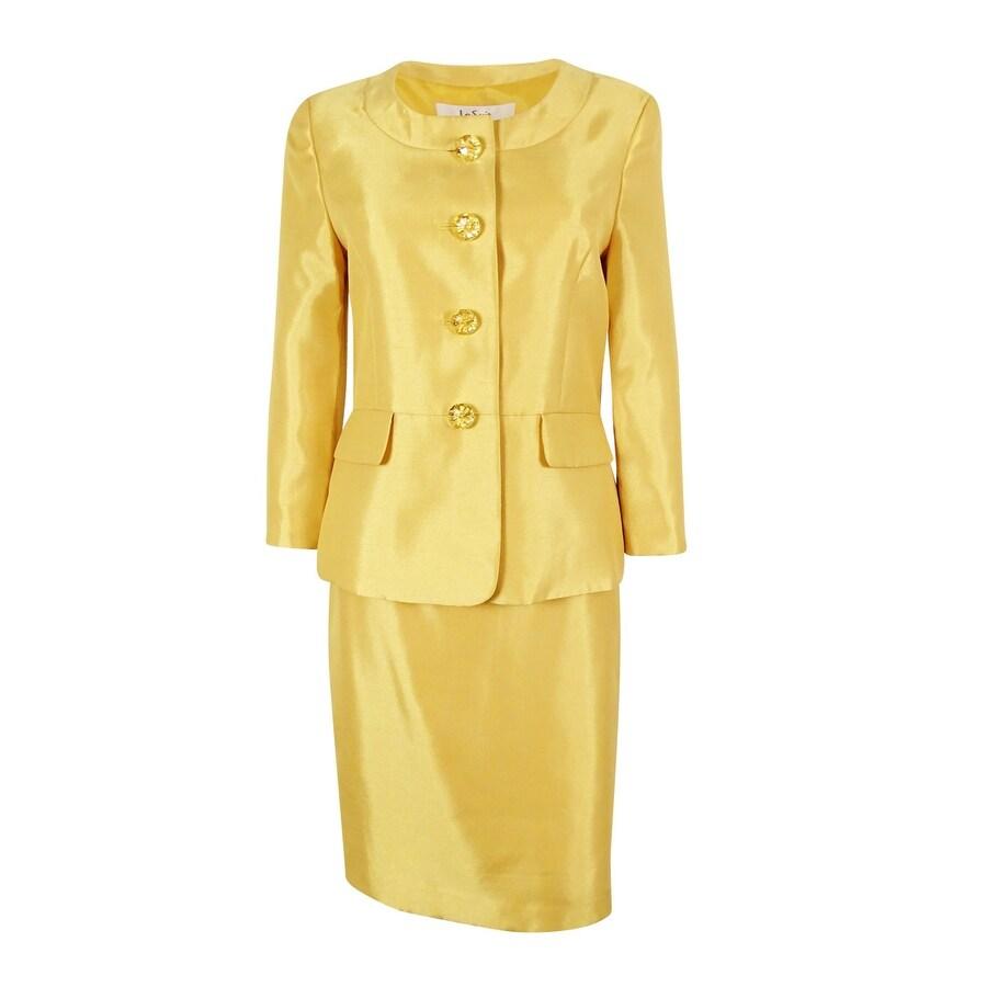 Le Suit Womens Jacquard 1 Button Zipper Pocket Skirt Suit