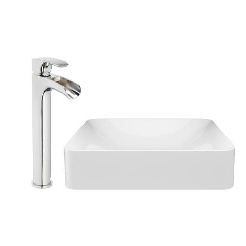 """Jacuzzi SS7893 Solid Surface 17-3/4"""" Vessel Bathroom Sink with 1.2 GPM De - Gloss"""