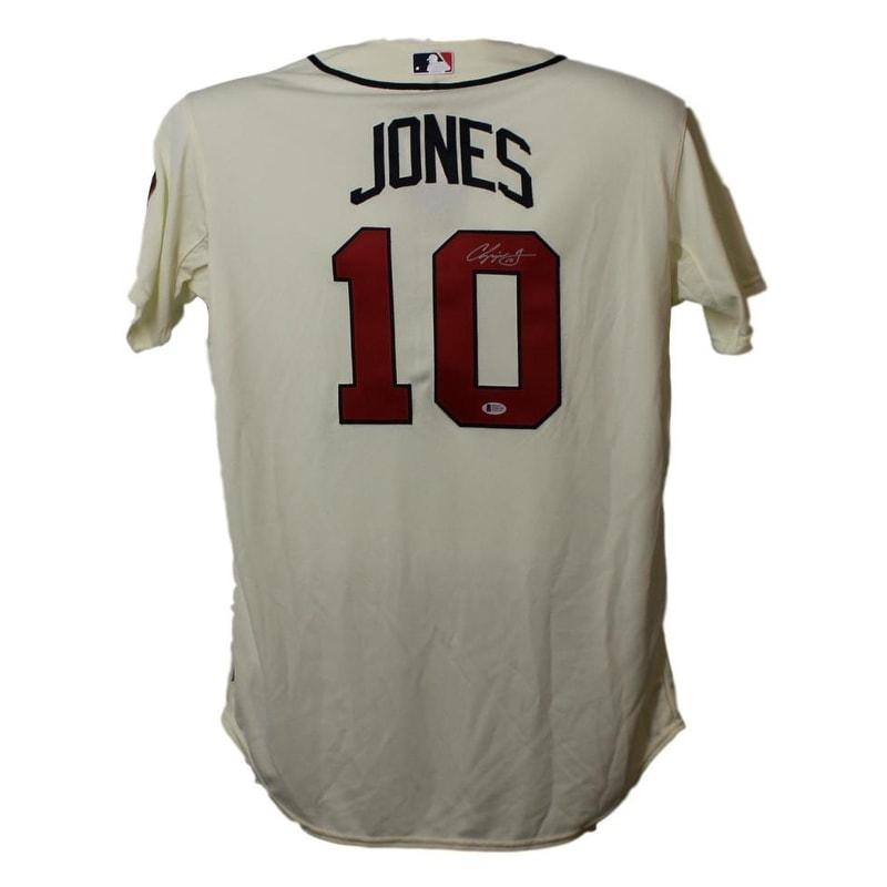 info for 1eb81 bf486 Chipper Jones Autographed Atlanta Braves Majestic Cream 48 Jersey BAS