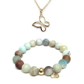 "Julieta Jewelry Set 10mm Green Amazonite Emma 7"" Stretch Bracelet & 12mm Butterfly Charm 16"" 14k Over .925 SS Necklace"