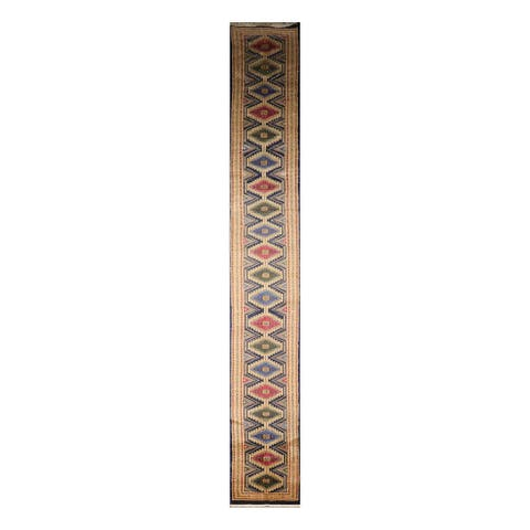 Hand Knotted Bokhara Persian Wool Traditional Oriental Rug (Runner) - 2' 7'' x 19' 7''