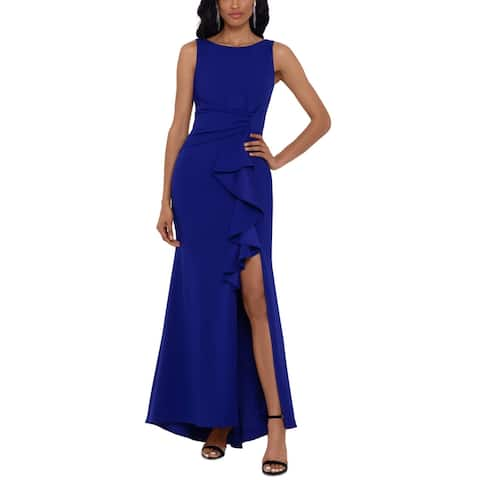 Betsy & Adam Womens Formal Dress Ruched Side Slit