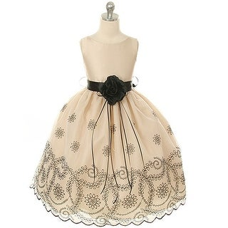 Kids Dream Little Girls Champagne Floral Embroidered Flower Girl Dress 2T-12 (More options available)