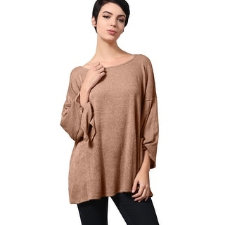 NE PEOPLE Women's Soft Knitted Scoop Neck Knotted Sleeved Loose Top