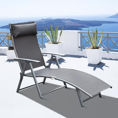 Outsunny Steel Fabric Outdoor Folding Chaise Lounge Chair Recliner with Portable Design & Adjustable Backrest - Grey