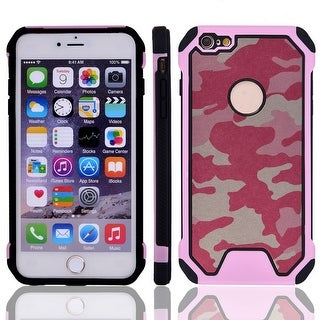 TPU Camouflage Shockproof Phone Protector Case Cover Pink for IPhone 7