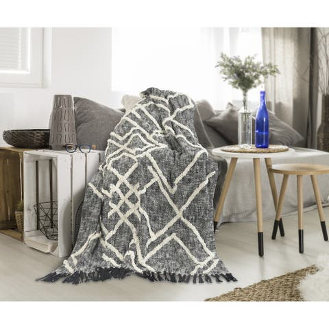 Overtufted Geometric Black and White Throw Blanket