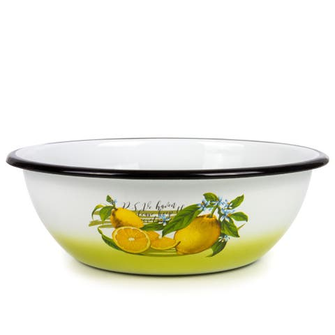 STP-Goods 4.2-Quart Black Rim Lemons Enamel on Steel Bowl