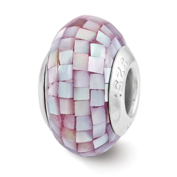 Sterling Silver Reflections Purple Mother of Pearl Mosaic Bead (4mm Diameter Hole)