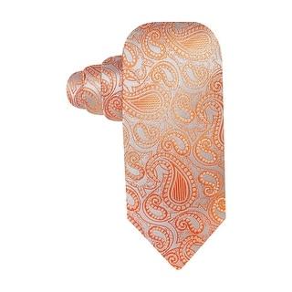 Alfani Spectrum Tortola Paisley Classic Silk Necktie Orange and Grey Tie