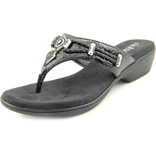 Rialto Kismet Women Open Toe Leather Black Thong Sandal
