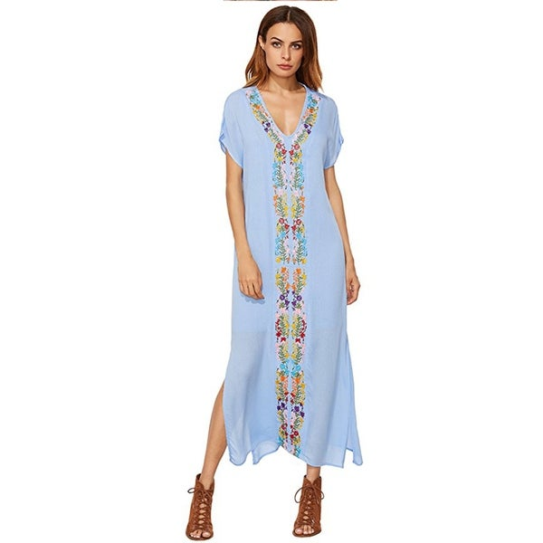 Women's Bohemian Floral Embroidery Split Maxi Dress Cover Ups
