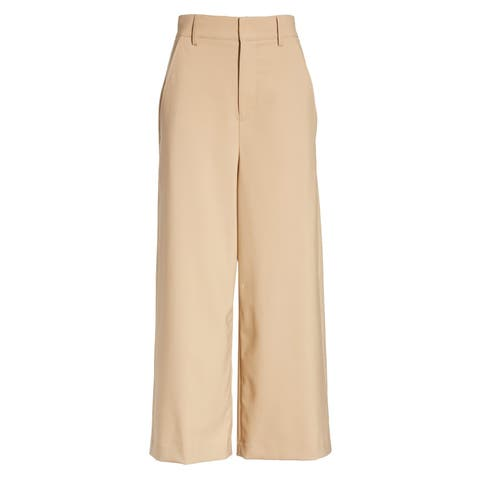 Vince Womens Dress Pants Brown Size 14 High Rise Wide Leg Cropped Wool