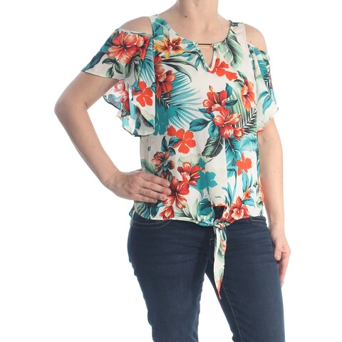 BCX Womens White Cold Shoulder Tie Ruffled Floral Keyhole Party Top Juniors Size: M
