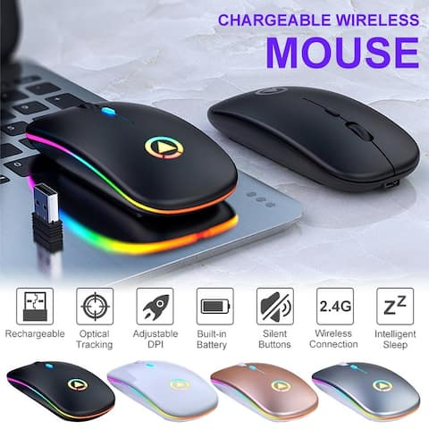 2.4ghz Chargeable Wireless Mice Slim Silent Optical Mouse