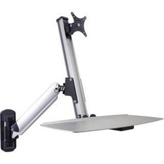 Doublesight Ergonomic Single Monitor Sit / Stand Lift Arm With Key Board Tray, Wall Mount (Ds-Ergo-100Wm)