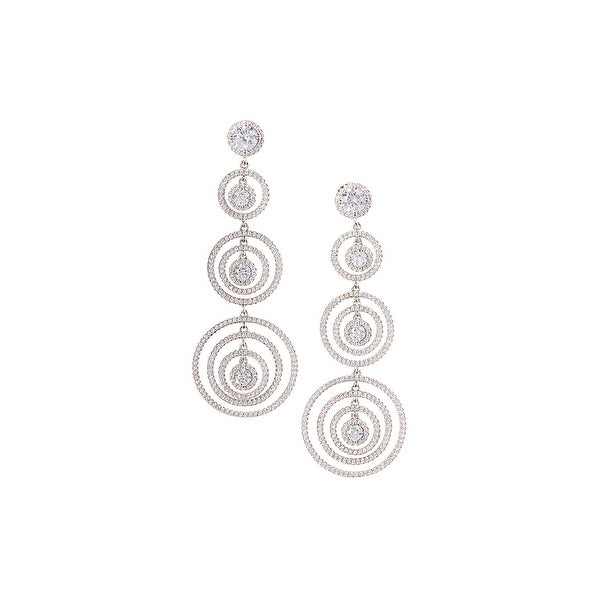 925 Sterling Silver Triple Hoop Drop Earrings with Cubic Zirconia