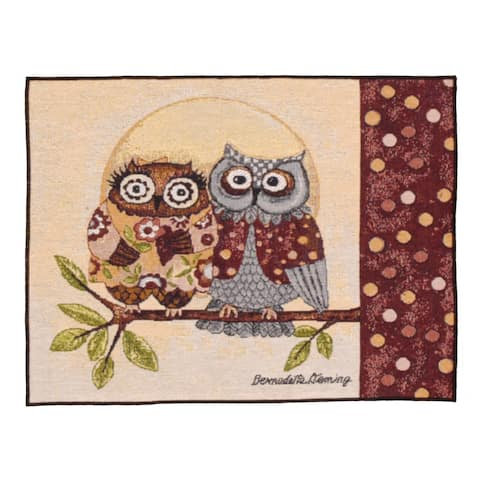 "Pack of 4 Retro Style Pair of Owls on Branch Decorative Tapestry Placemats 12"" x 18"" - N/A"