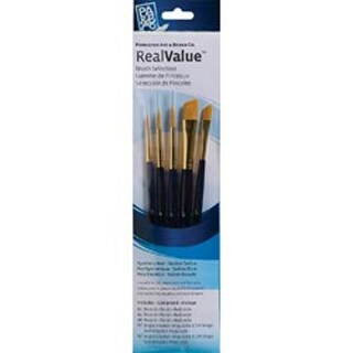 7/Pkg - Synthetic Gold Taklon Real Value Brush Set