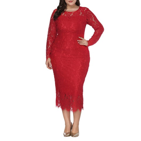 QZUnique Women's Plus Size Full Lace Evening Dresses Midi Skirts Hollow Out Long Sleeves Round Collar One-Piece Dresses