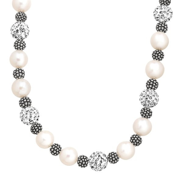 Aya Azrielant Freshwater Pearl & Bead Necklace with Swarovski elements Crystals in Sterling Silver