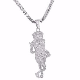 Designer Mr. Peanut Planters Pendant Iced Out Simulated Diamonds 18K Rhodium Finish Free Stainless Steel Necklace