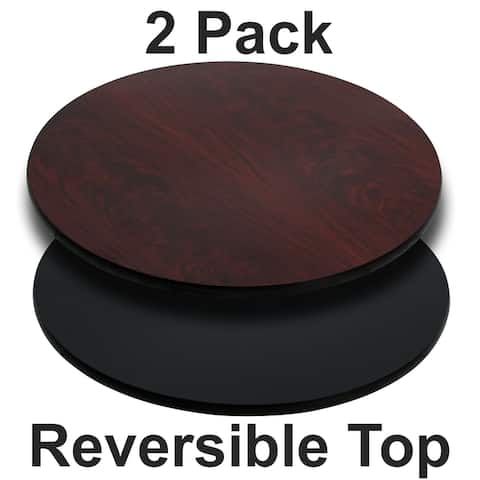"2PK 42"" Round Table Top with Natural or Walnut Reversible Laminate Top"