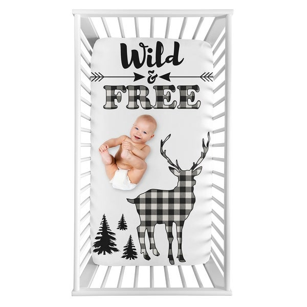 Black White Woodland Deer Collection Boy Photo Op Fitted Crib Sheet - Buffalo Plaid Check Rustic Country Farmhouse Lumberjack. Opens flyout.