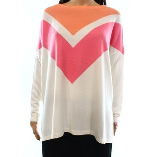 Go Couture NEW White Women's Size Small S Crewneck Colorblocked Sweater