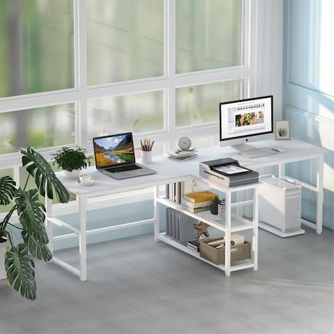 94.5 inch Computer Desk, Extra Long Two Person Double Desk with Storage Shelves